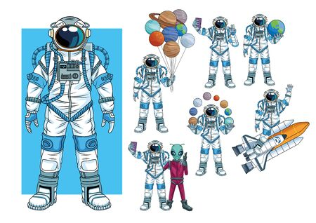 group of astronauts in the space characters vector illustration design