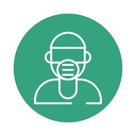 man using face mask block style icon vector illustration design