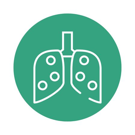 human lungs block style icon vector illustration design