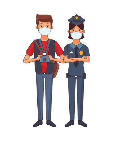 photographer and police woman using face masks vector illustration design