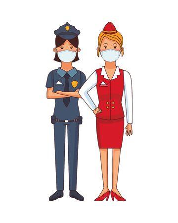 female police and receptionist using face masks vector illustration design