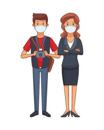 photographer and businesswoman using face masks vector illustration design