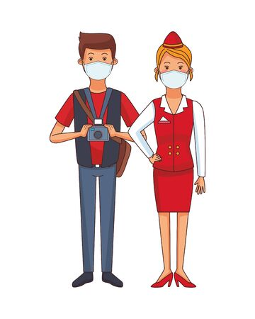 photographer and receptionist using face masks vector illustration design
