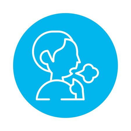 person coughing sick block style icon vector illustration design