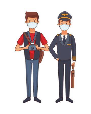 photographer and pilot using face masks vector illustration design Ilustrace