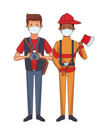 photographer and firefighter using face masks vector illustration design Ilustrace