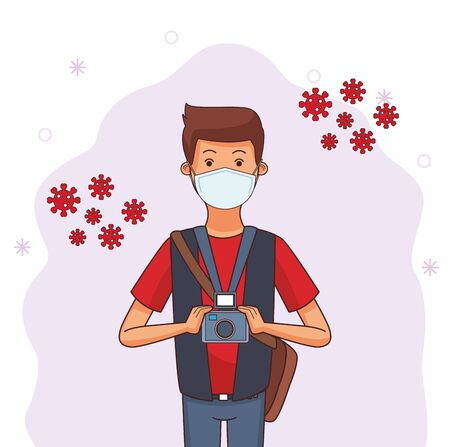 photographer worker profession using face mask vector illustration design