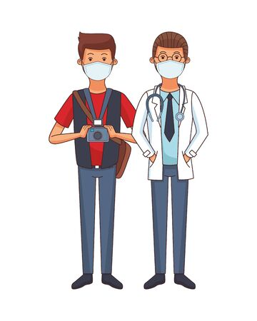 photographer and doctor using face masks vector illustration design
