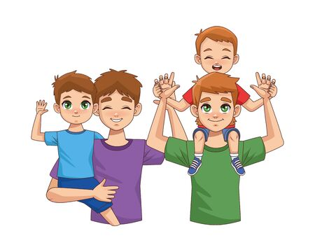 fathers lifting sons parents characters vector illustration design