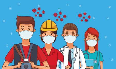 group of workers using face masks for covid19 vector illustration design