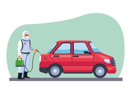 biosafety worker desinfect car for covid19 vector illustration design Vector Illustratie