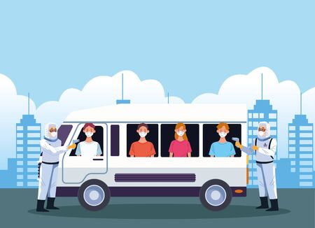 doctors checking temperature for covid19 in bus vector illustration design Illustration