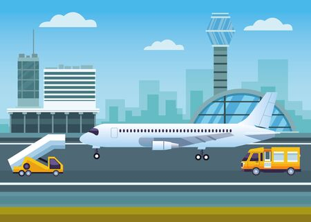 airport outdoor with control tower and airplane vector illustration design 일러스트