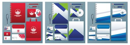 differents stationary templates in gray background vector illustration design