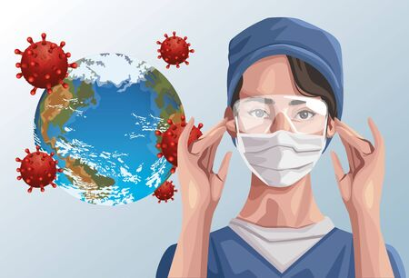 nurse using fase mask and earth planet ,covid19 protection vector illustration design