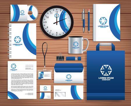 set stationary templates in wooden background vector illustration design