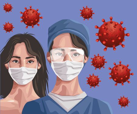 nurse and woman using fase mask and glasses ,covid19 protection vector illustration design