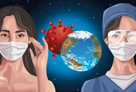 nurse and woman using fase mask with earth planet ,covid19 protection vector illustration design Illusztráció
