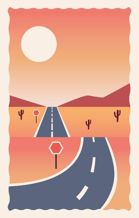 desert landscape flat scene with road vector illustration design