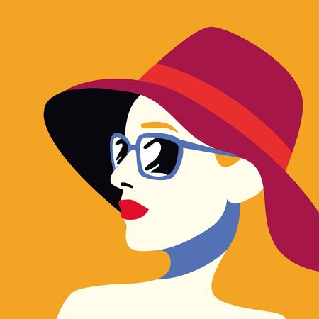 beautiful woman fashionable with sunglasses and hat vector illustration design