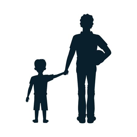 dear father with soccer balloon and son silhouettes vector illustration design