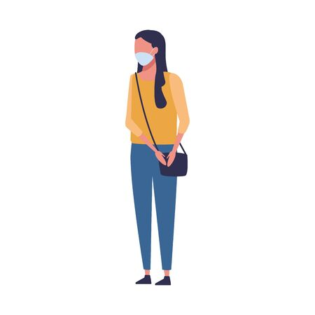 woman using face mask for covid19 vector illustration design