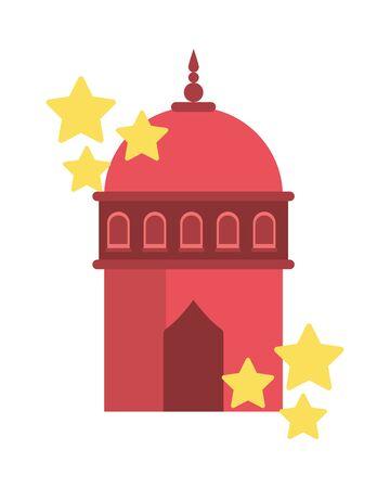 ramadan kareem mosque tower temple with stars vector illustration design  イラスト・ベクター素材