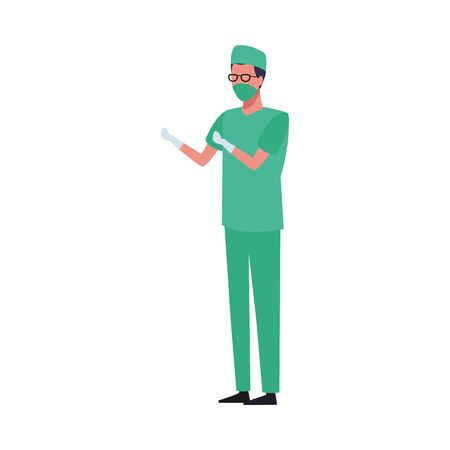 surgeon worker using face mask for covid 19 vector illustration design  イラスト・ベクター素材