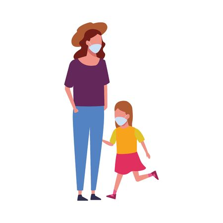 mother and daughter using face masks characters vector illustration design
