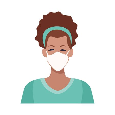 afro woman using face mask for covid19 vector illustration design