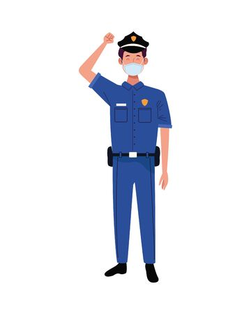 police worker using face mask for covid 19 vector illustration design