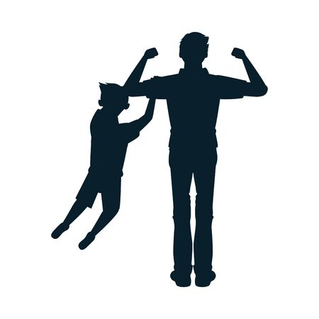 dear father with son avatars silhouettes vector illustration design