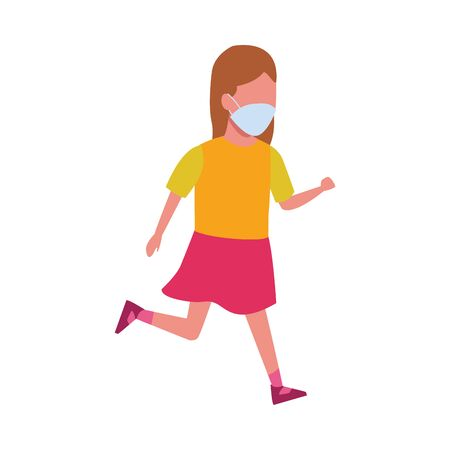 young girl using face mask for covid19 vector illustration design