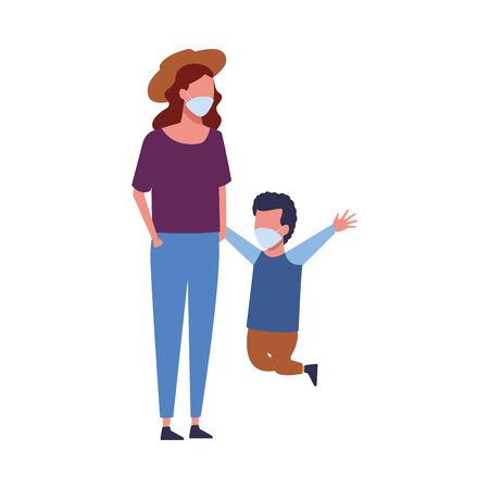 mother and son using face masks characters vector illustration design  イラスト・ベクター素材
