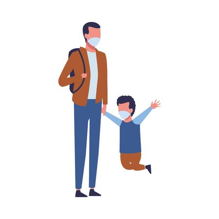 father and son using face masks characters vector illustration design  イラスト・ベクター素材