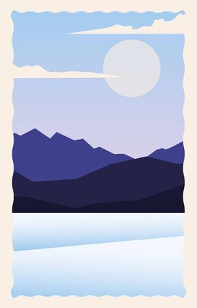 snowscape flat scene with snow and mountains vector illustration design