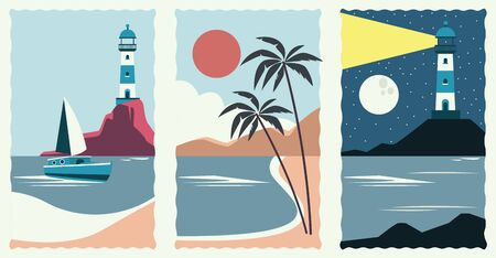 set of sea scape flat scenes vector illustration design