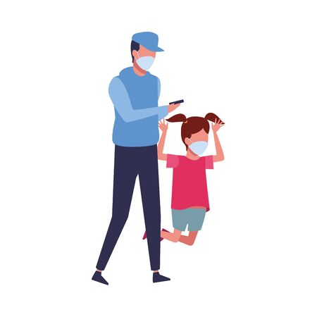 father and daughter using face masks characters vector illustration design