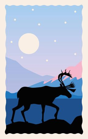 snowscape flat scene with mountains and deer vector illustration design