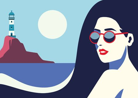 beautiful woman fashionable with sunglasses in seascape vector illustration design Vettoriali