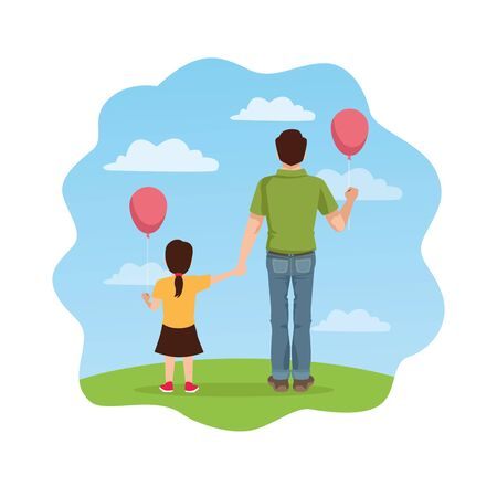 fathers day card dad and daughter with balloons helium vector illustration design