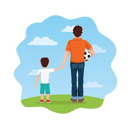 fathers day card with dad and son and balloon soccer vector illustration design