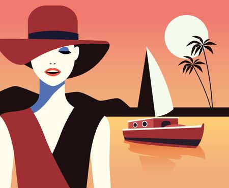 beautiful woman fashionable with hat on the beach vector illustration design Vettoriali
