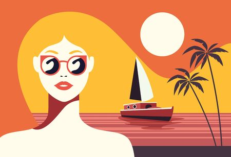 beautiful woman fashionable with sunglasses in seascape vector illustration design 向量圖像