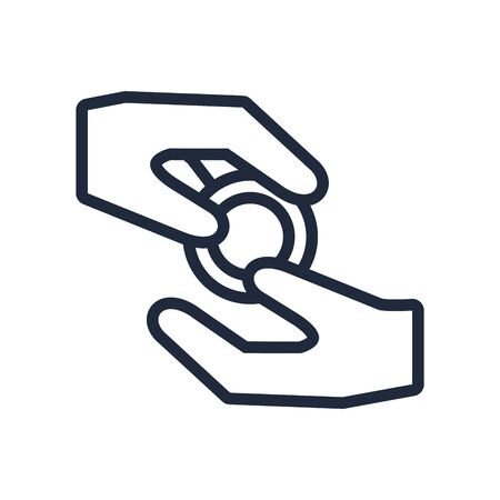 hands giving coin line style icon vector illustration design