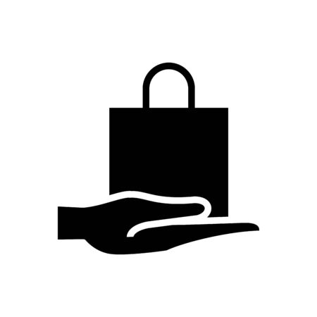 hand with shopping bag silhouette style icon vector illustration design Vectores