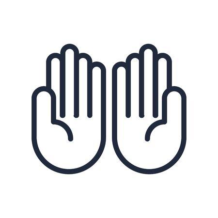 ten hands signal line style vector illustration design Çizim
