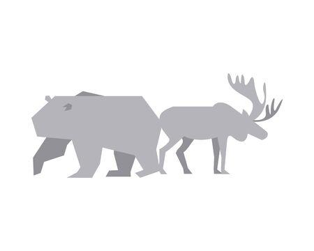 polar bear and deer silhouettes vector illustration design Illustration