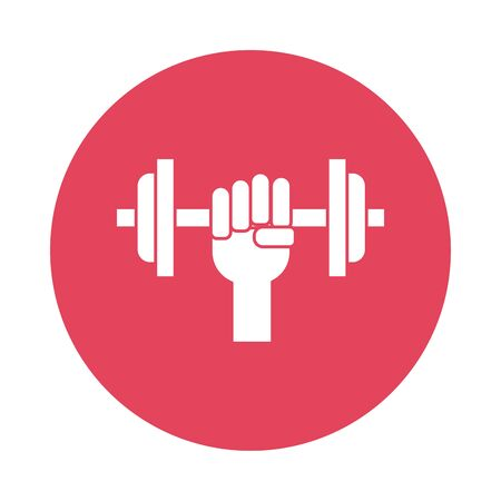 hand lifting dumbbell silhouette block style icon vector illustration design Ilustrace