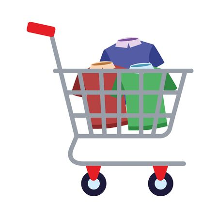 shopping cart commercial with shirts vector illustration design 向量圖像